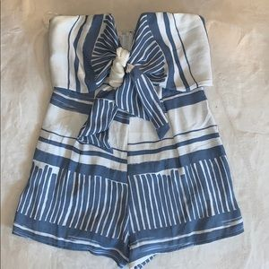 Pants - NWOT Blue and white romper